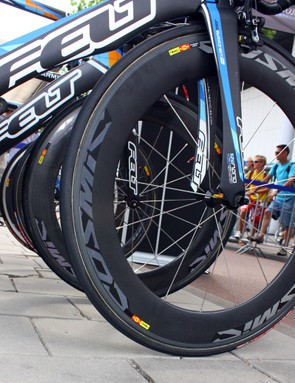 Mavic's Cosmic Carbone 80 makes an appearance in official trim, complete with proper labelling