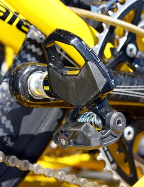 This Mavic neutral spare bike has its own pedals installed but others have toe clips to accommodate any rider's shoes
