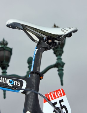 3T's never-come-loose Palladio seatpost makes an appearance on this Garmin-Transitions team bike
