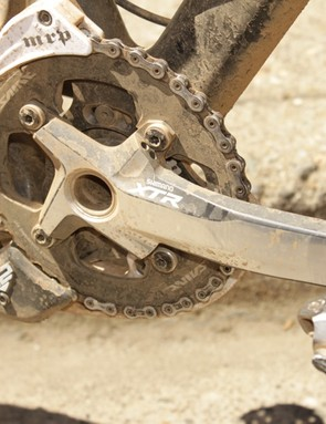 Many top pros used a single chainring in Downieville; Mark Weir used a 40t ring bolted to the new M980 XTR crank
