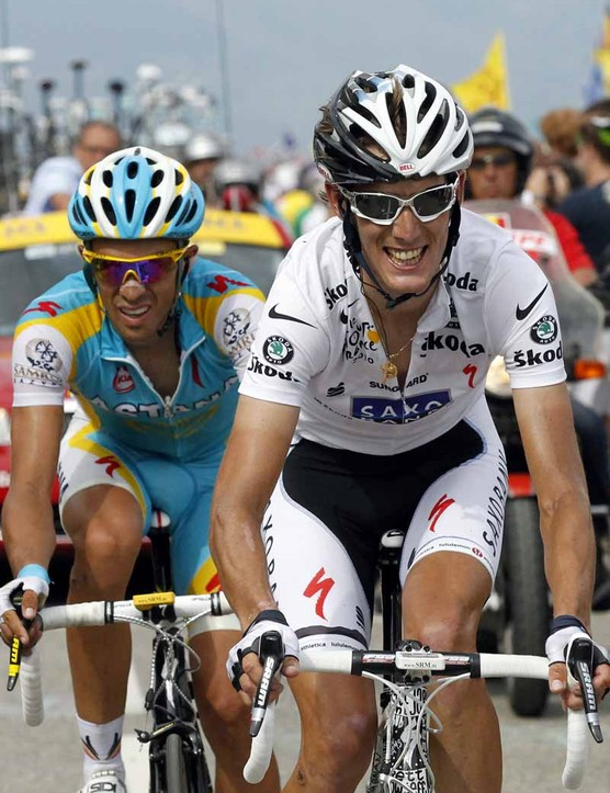 Andy Schleck and Alberto Contador in stage 9