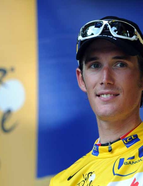 A yellow clad Andy Schleck