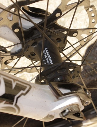 Weir had a 20mm thru-axle front hub laced to the Stryker cross-country rim, this configuration will not be available at retail