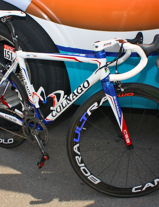 BBox-Bouygues Telecom team leader Thomas Voeckler's Colnago C59 is dressed in the colours of the French national road race champion