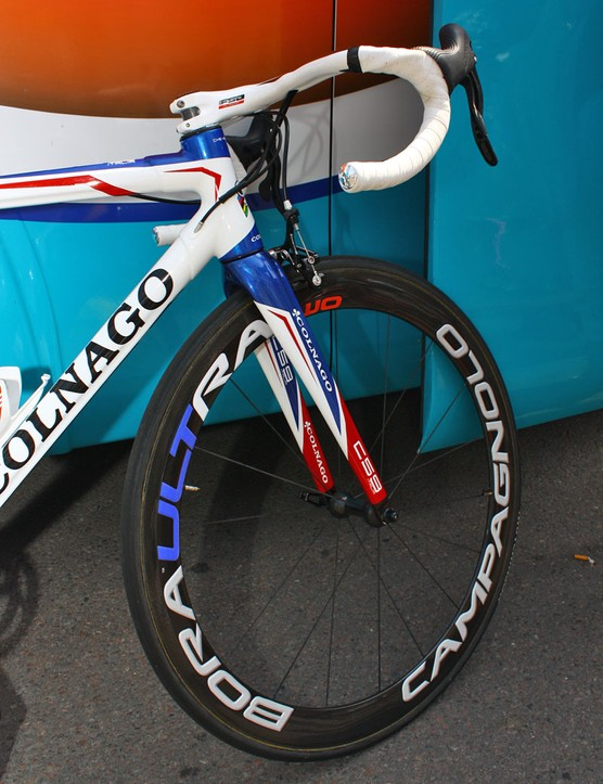 The deep-section Campagnolo Bora Ultra Two carbon fibre tubulars have custom coloured decals to match the rest of the bike