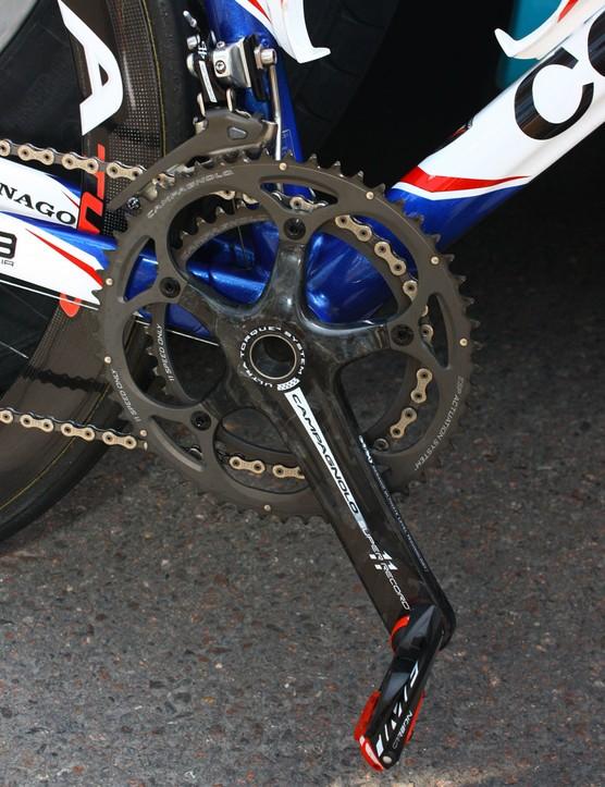 Campagnolo's Super Record cranks feature hollow carbon fibre arms