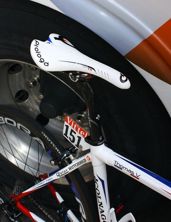 Voeckler's carbon railed Prologo Scratch Pro TR Nack saddle is mounted atop a Colnago carbon seatpost