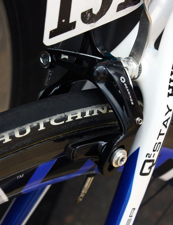 Voeckler's brakes are fitted with carbon-specific blocks