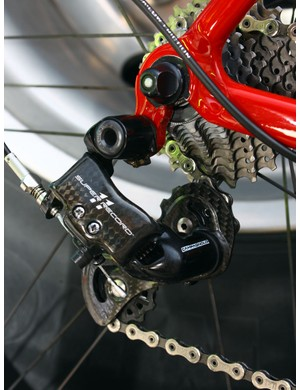 Campagnolo's Super Record rear derailleur is chock full of forged aluminium, carbon fibre and titanium