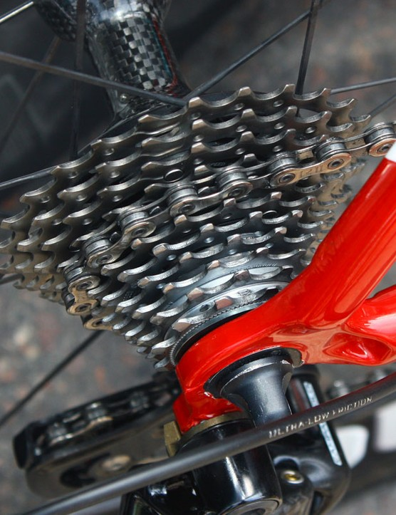 A steel and titanium 11-25T Campagnolo Record cassette is pictured here but like all riders at this level, Voeckler has a wide range of ratios to choose from on any given day