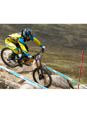 Aaron Gwin in action at this year's second World Cup round in Fort William, Scotland