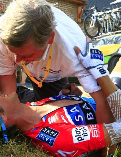 Frank Schleck after his stage 3 crash