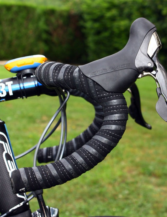 Farrar runs his Shimano Dura-Ace levers high on the ergonomic-bend bars