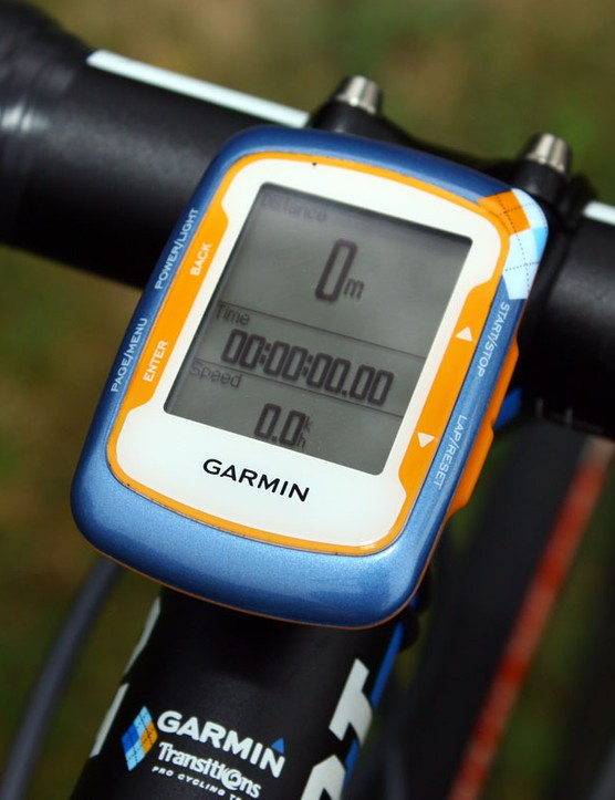 Farrar's Garmin Edge 500 computer displays just the essentials: distance, elapsed time and speed