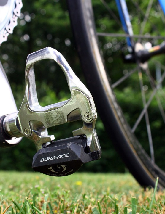 Farrar's Shimano Dura-Ace pedals bear noticeable scars