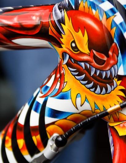 Detail of the Fascenario Red Dragon head tube
