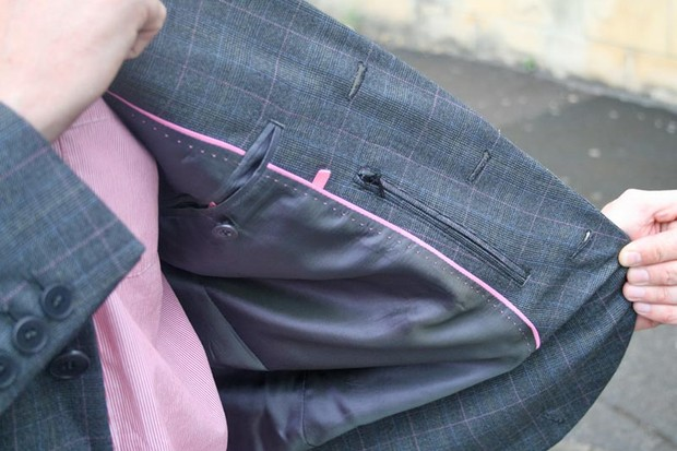 Inside, the jacket has two in-breast pockets and an additional zipped valuables pocket