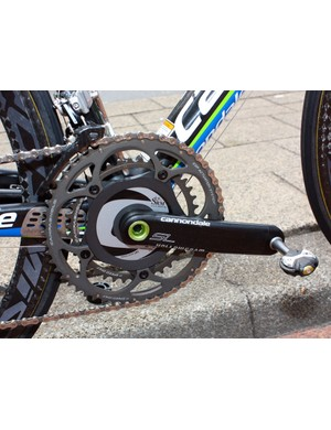 Basso's Cannondale Hollowgram SL crank is paired with SRM's power measuring spider