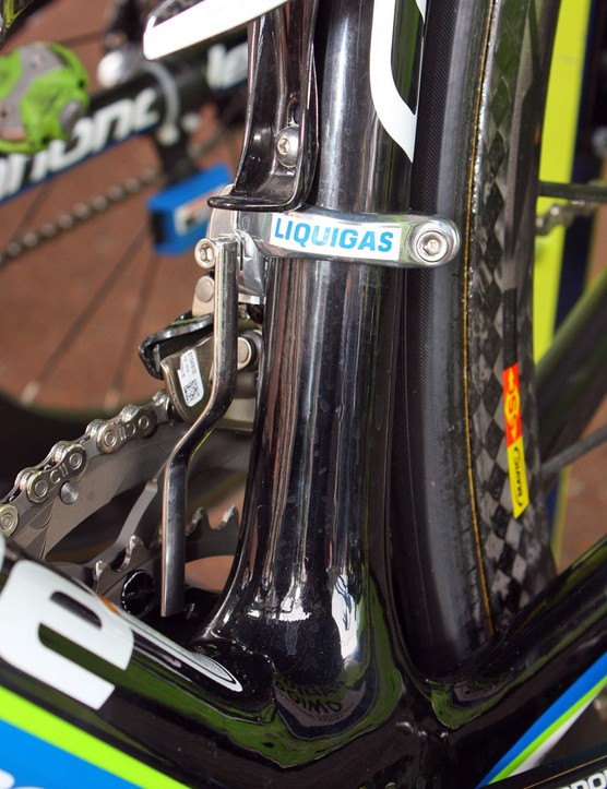 The Liquigas team use custom-made chain watchers. And underneath that conspicuously placed 'Liquigas' decal is a Shimano logo