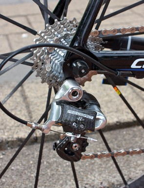 The Campagnolo Record rear derailleur moves the chain over steel and titanium cogs