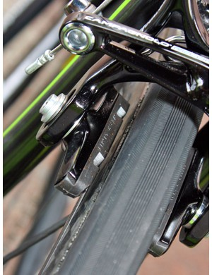 Basso's carbon-specific pads have chamfered rear edges that presumably cut down on chatter