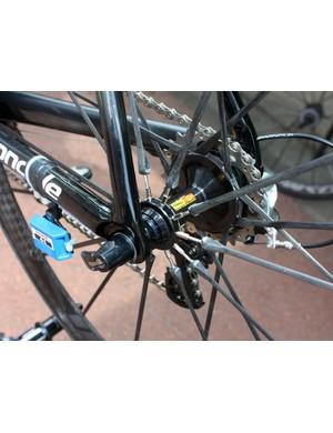 Threaded spoke ends allow the rear wheel to be trued