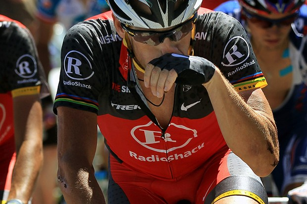 Lance Armstrong suffered again today, losing another 15 minutes