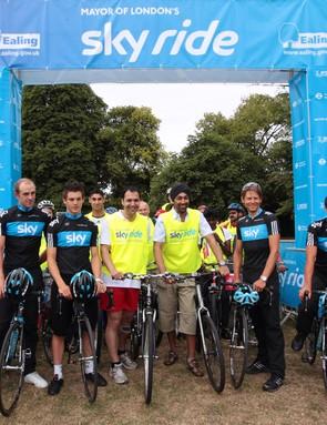 Members of Britain's Team Sky were on hand