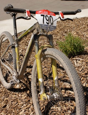 The Rockhopper SL's big wheels undoubtebly helped on the rough nationals course