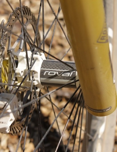 Overend's prototype wheelset features a carbon Roval Controle front hub
