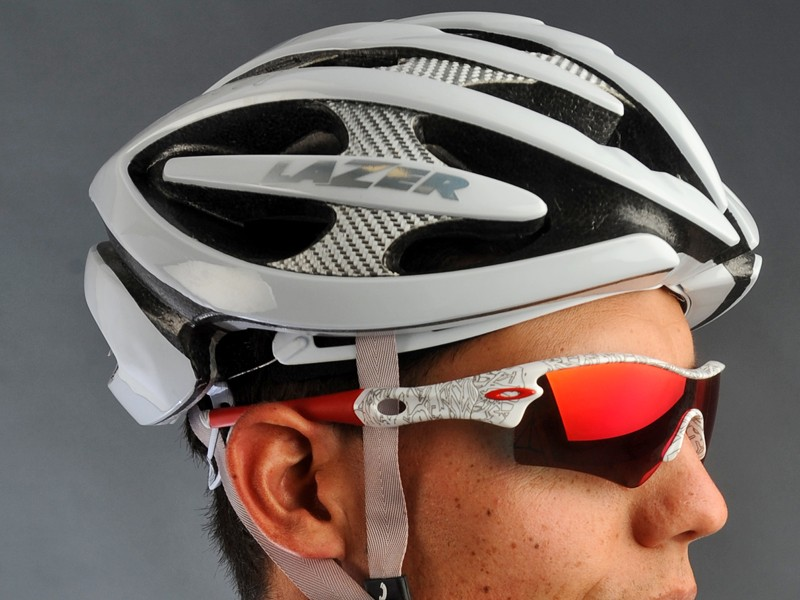 The bright silver fiber composite reinforcements lend a high-tech look to Lazer's Helium helmet