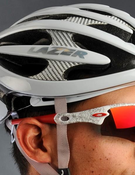 The bright silver fiber composite reinforcements lend a high-tech look to Lazer's Helium helmet