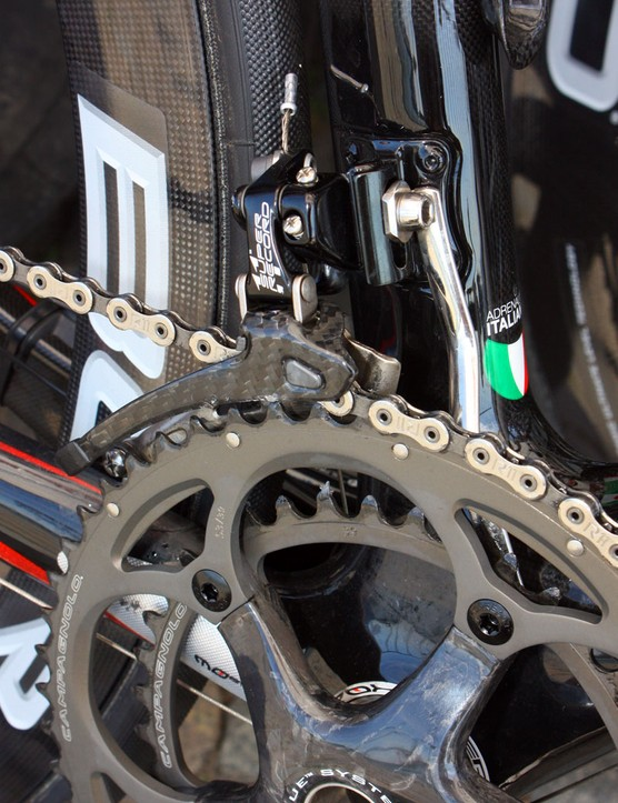 A custom chain watcher is mounted in conjunction with the Campagnolo Super Record front derailleur.