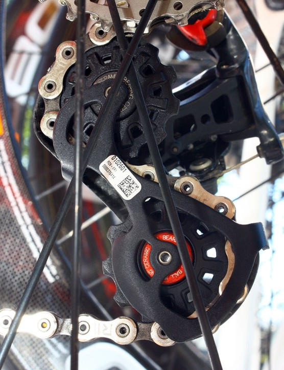 Campagnolo's Super Record rear derailleur is fitted with ceramic pulley bearings.