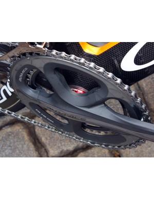 Tucked behind the Euskaltel-Euskadi Orbea Orca's Shimano Dura-Ace cranks are FSA ceramic bottom brackets.