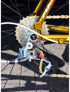 The chunky two-piece aluminium dropouts provide the anchor point for the SRAM Red rear derailleur.