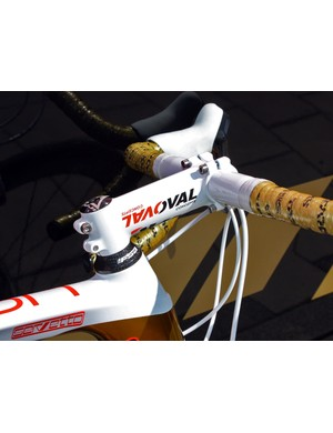 Fuji's parent company also owns Oval Concepts so it's no surprise to see team bikes so-equipped.