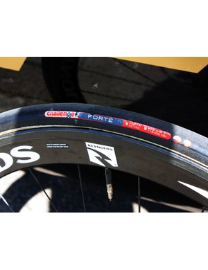 Fuji-Servetto's Reynolds rims are wrapped with Challenge tyres.