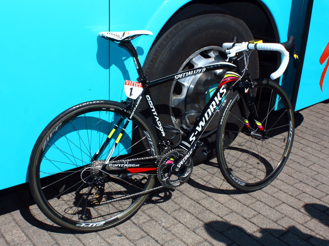 Alberto Contador (Astana) is hoping this custom painted - and immaculately prepared - Specialized S-Works Tarmac SL3 will carry him to his third Tour de France victory.