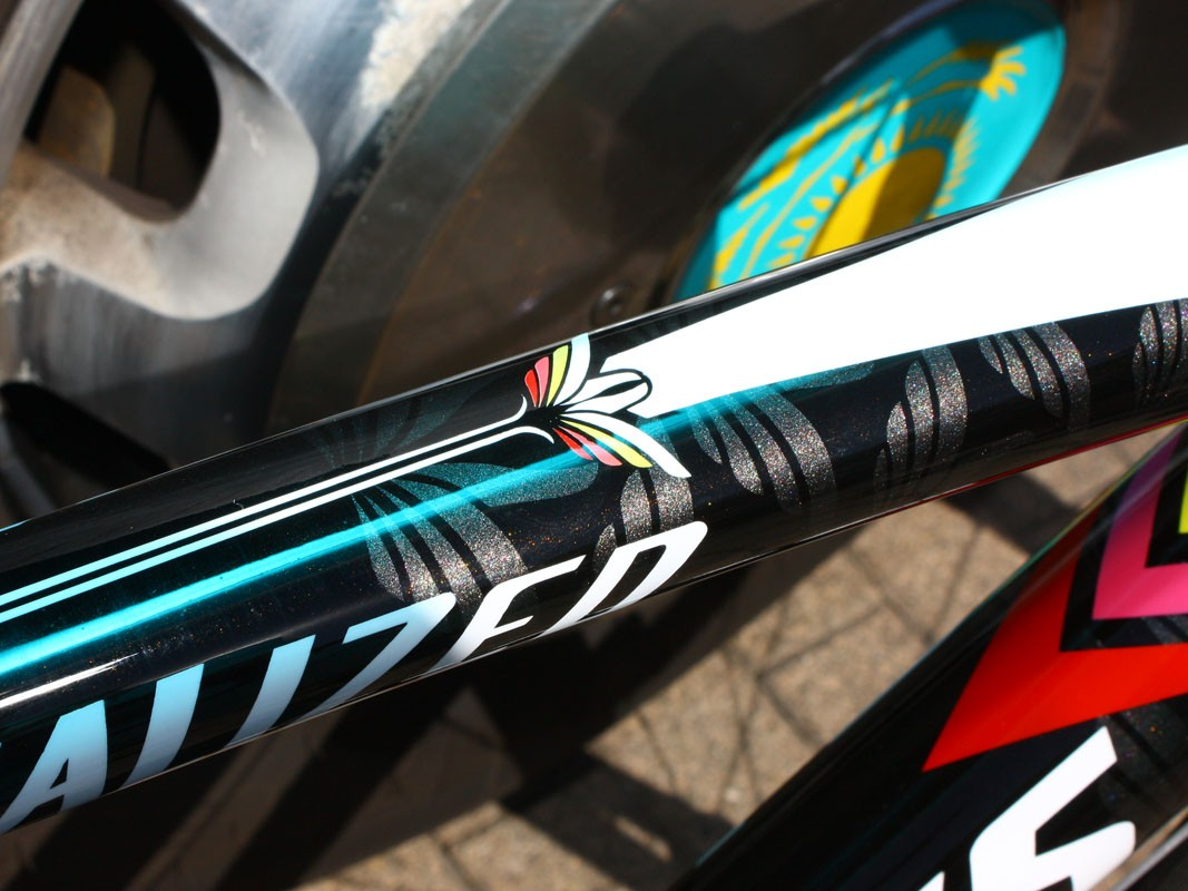 Custom painted frames are nothing new at the Tour de France but Contador's are consistently one of our favorites.