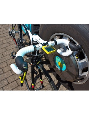 Contador's white bar tape is immaculate prior to the start of Stage 6.