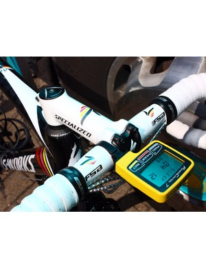 Contador's signature pistols fire away on the bars and stem. An SRM PowerControl 7 computer head is attached even though there's no power meter installed.