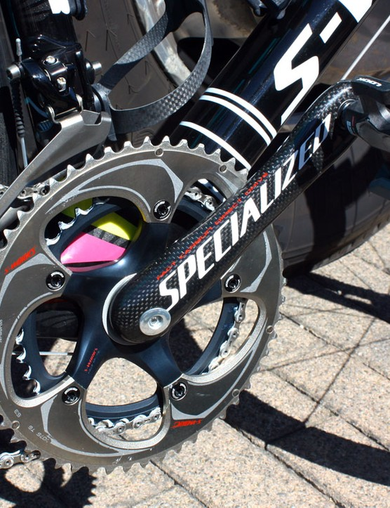 Specialized's ultralight carbon fibre crankarms include stub bottom bracket axles that bolt together at the centerline of the bike.
