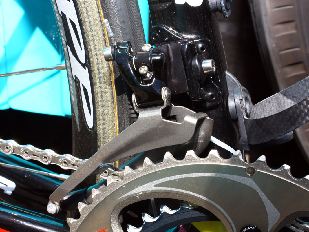 Unlike most SRAM Red-equipped riders in the peloton, Contador sticks with the stock titanium front derailleur cage.  Plus there's no chain watcher, either.