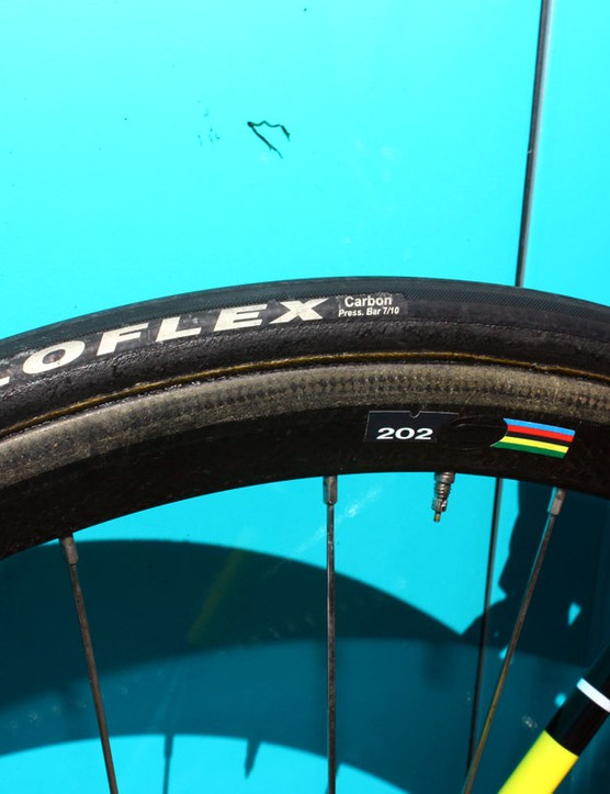 Veloflex Carbon tires - and tires that are badged otherwise but look like suspiciously like Veloflex Carbon ones - are a popular choice in the peloton.