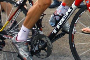 Levi Leipheimer (Team Radioshack) is racing at the Tour de France with a pair of as-yet-unreleased road shoes from helmet maker Giro.