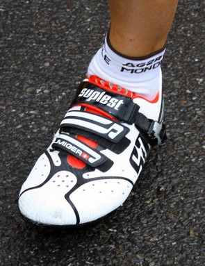 ag2r-La Mondiale rider Martin Elmiger gets his name printed right on his Swiss Suplest shoes.