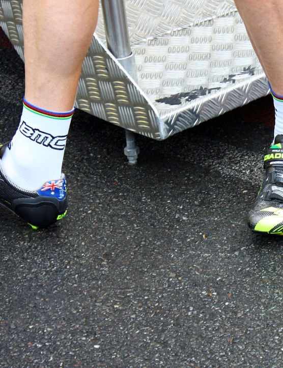 Current road world champion Cadel Evans (BMC) gets his own customized pair of Diadoras.