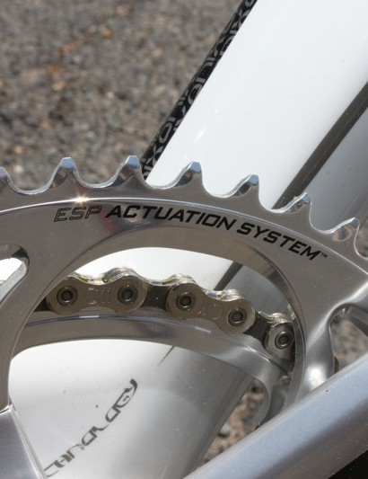 The alloy Athena crankset comes with machined and polished rings, while the carbon version comes with less-expensive stamped rings