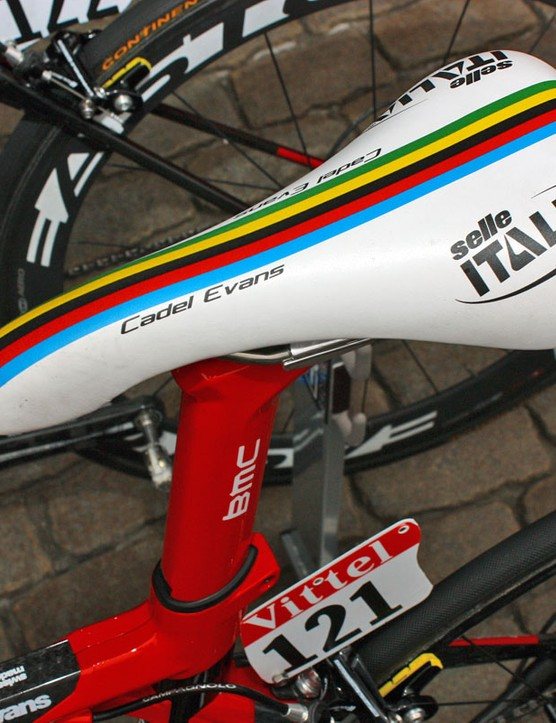 Cadel Evans gets his own personalized saddle from Selle Italia.